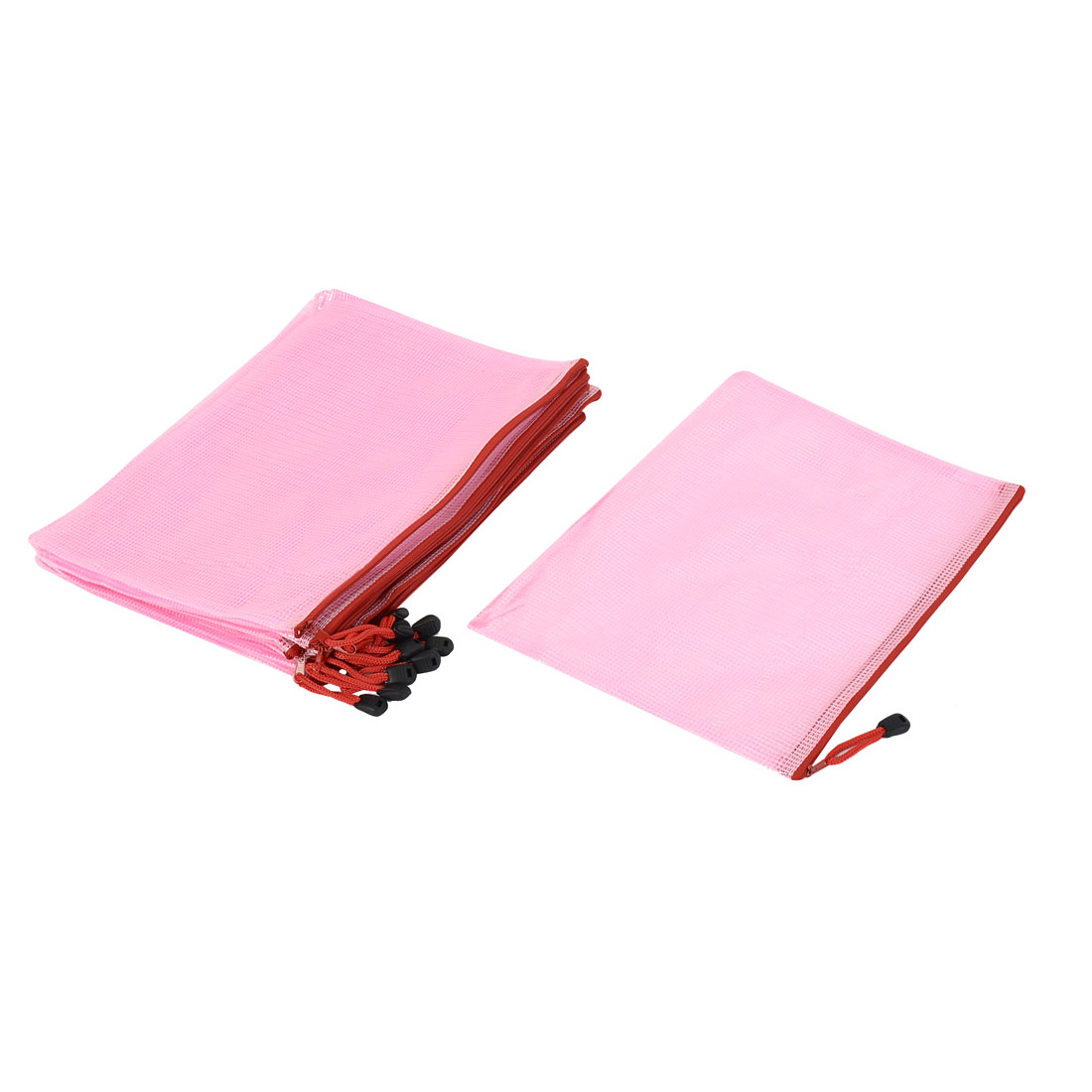 Office Stationery A4 Document File Zipper Pocket Bag Floder Holder Pink 12pcs