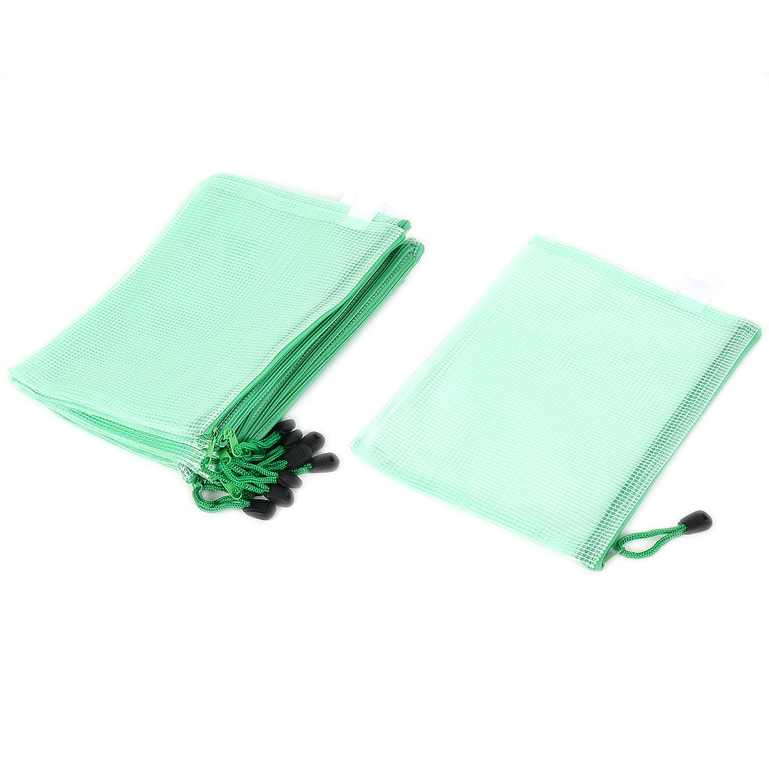 Office A5 Document File Pen Zipper Pocket Bag Holder Folder Green 12pcs