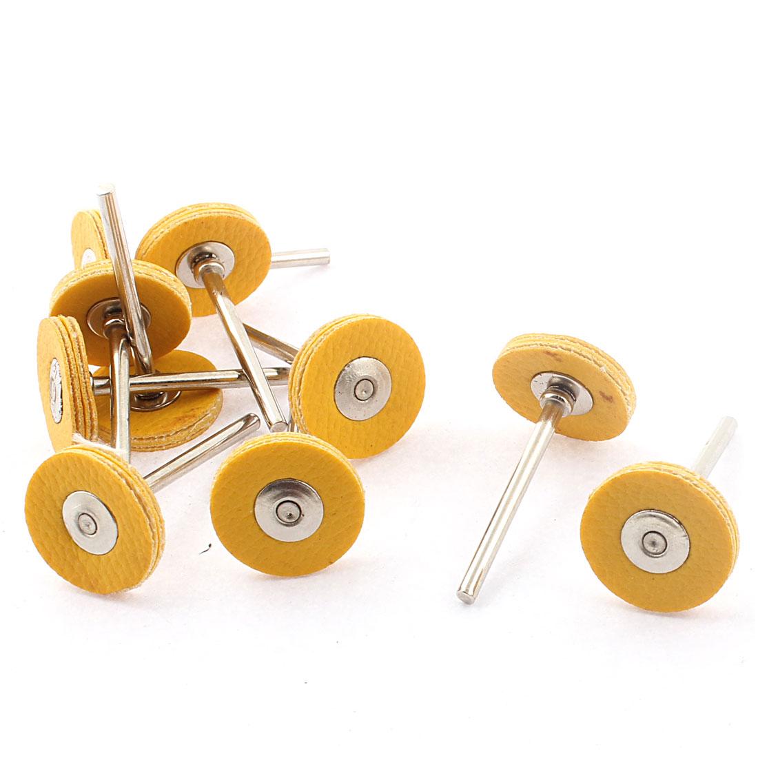 10 Pcs 3mm Round Shank 3x22mm Faux Leather Pad Jewelry Polishing Buffing Wheel