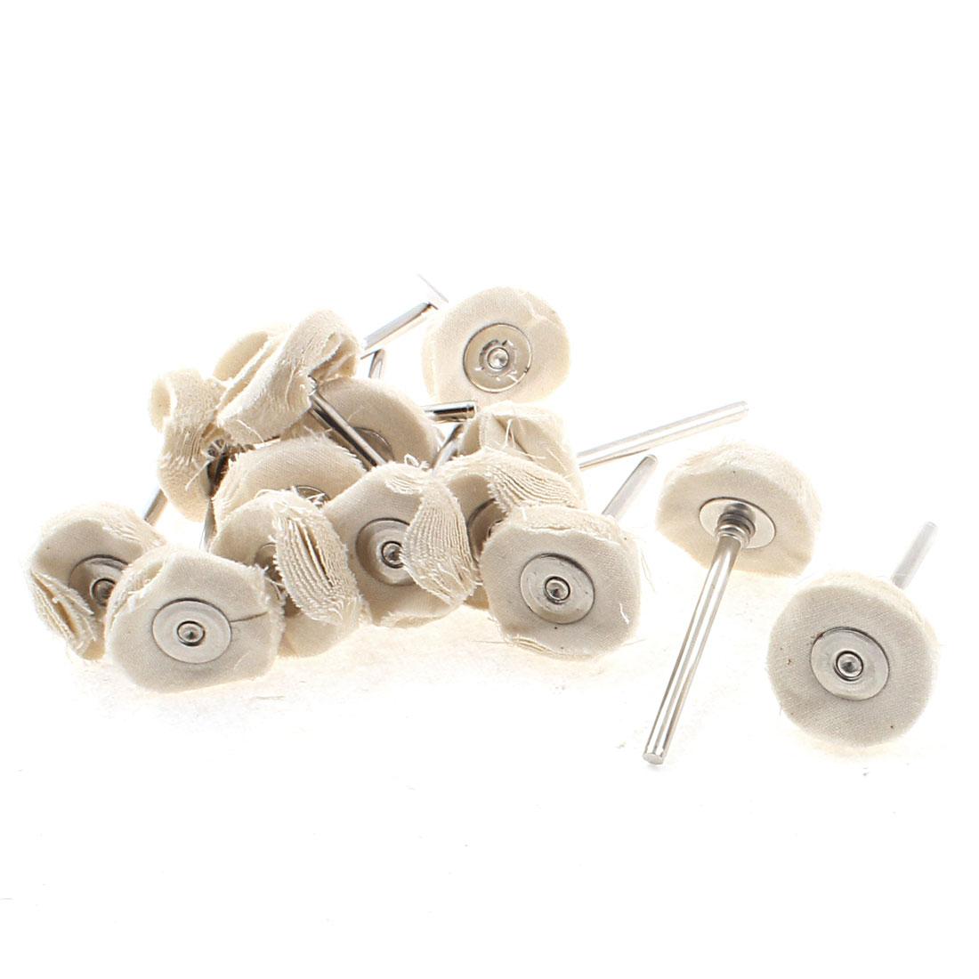 15 Pcs Round Shank 22x3mm Cotton Blend Pad Jewelry Polishing Buffing Wheel