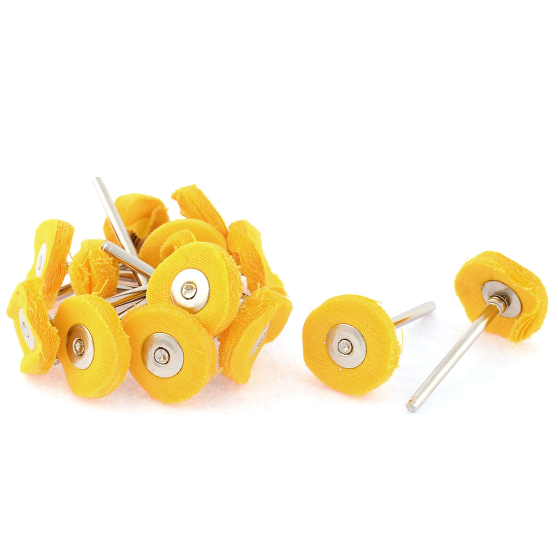 15 Pcs 3mm Shank 22mm Dia Electric Drill Polish Buffing Wheel Yellow