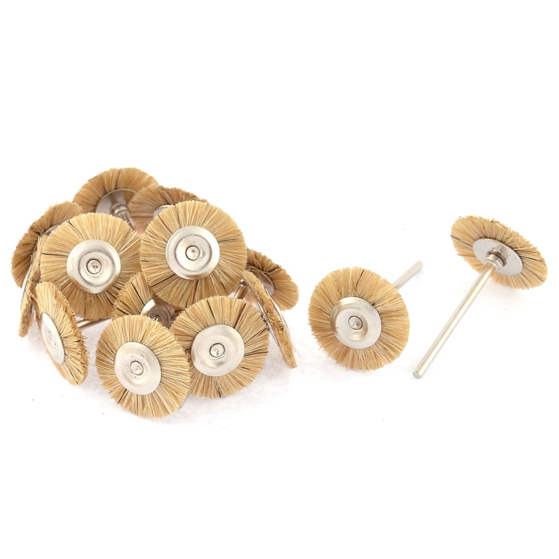 25mm Dia Head 2.3mm Shank Grinding Polishing Mounted Wheel Brown 15pcs