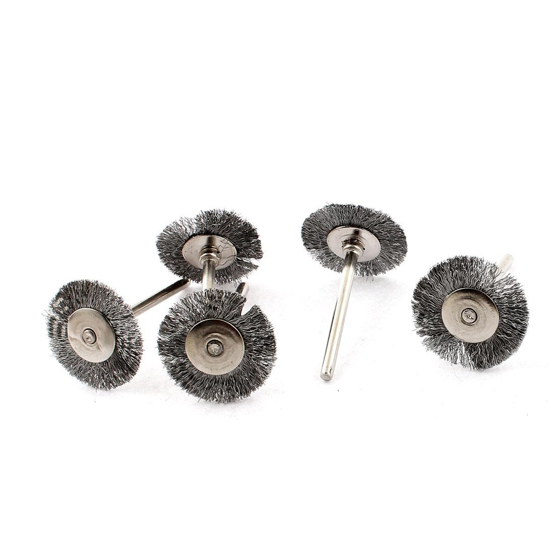 5pcs 25mm Steel Pad Metal Straight Shank Polishing Buffing Wheel Brush Tool