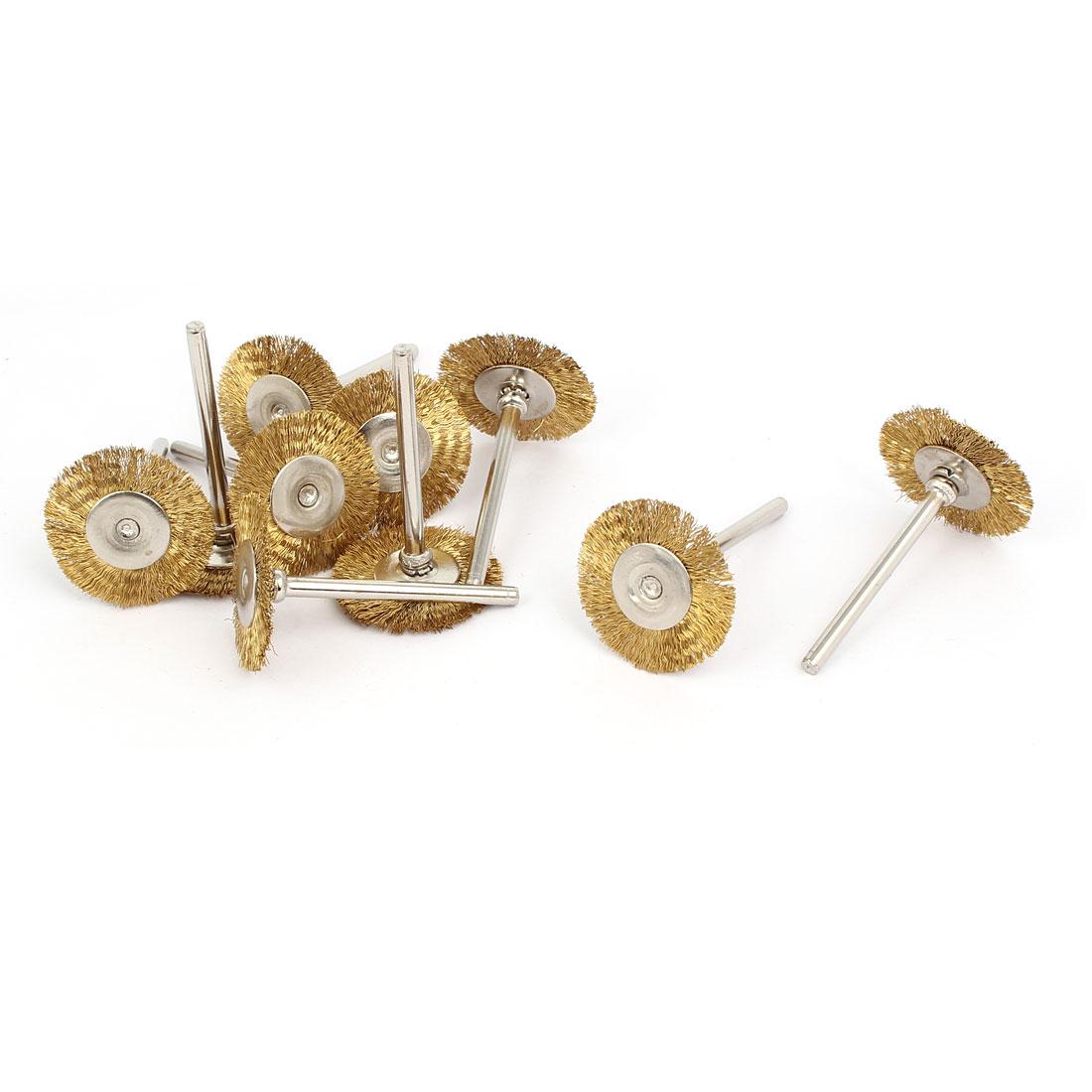 3mm Shank 25mm Head Dia Brass Wire Polishing Brush Wheel Buffing Tool 10pcs