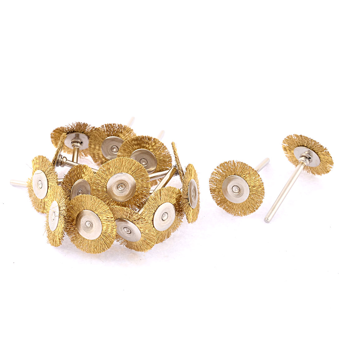 15 Pcs 3mm Shank 25mm Dia Copper Wire Electric Drill Polish Buffing Wheel