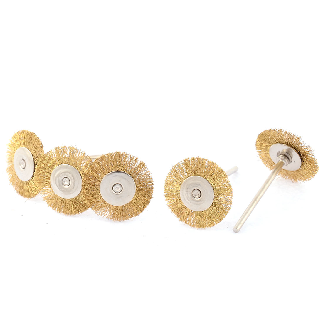 5 Pcs 2.3mm Shank 25mm Dia Copper Wire Electric Drill Polish Buffing Wheel