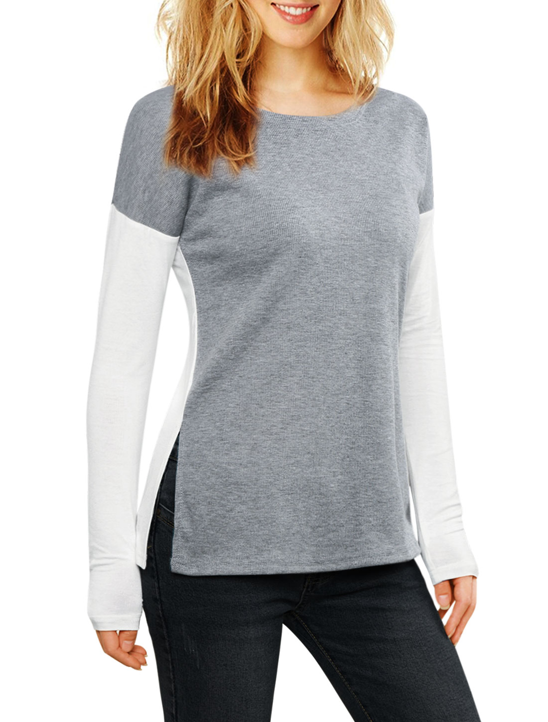 Women Color Block Side-Slit Paneled Slim Fit Ribbed Top Gray XS
