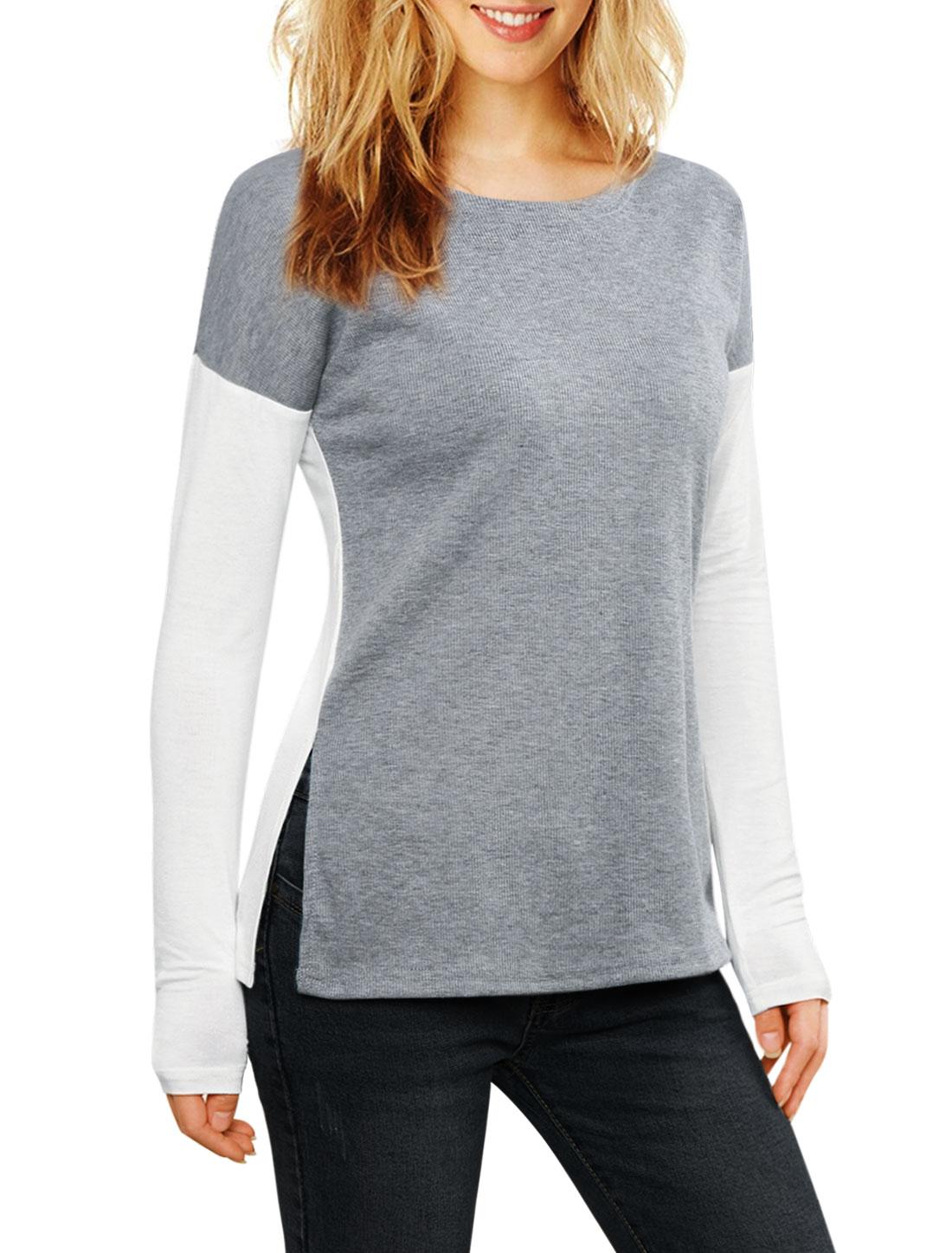 Women Color Block Side-Slit Paneled Slim Fit Ribbed Top Gray M