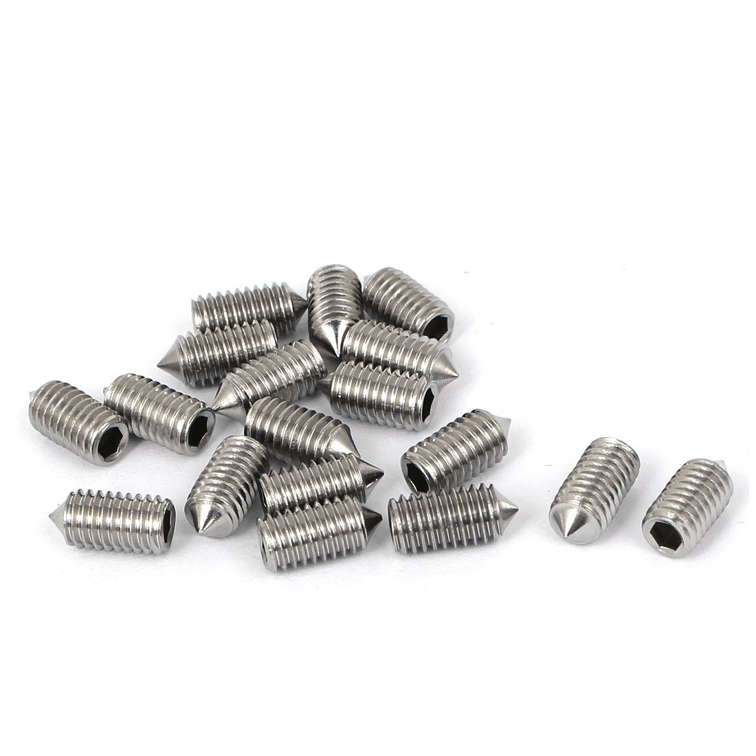 M5x10mm Stainless Steel Hex Socket Set Cone Point Grub Screws Silver Tone 18pcs