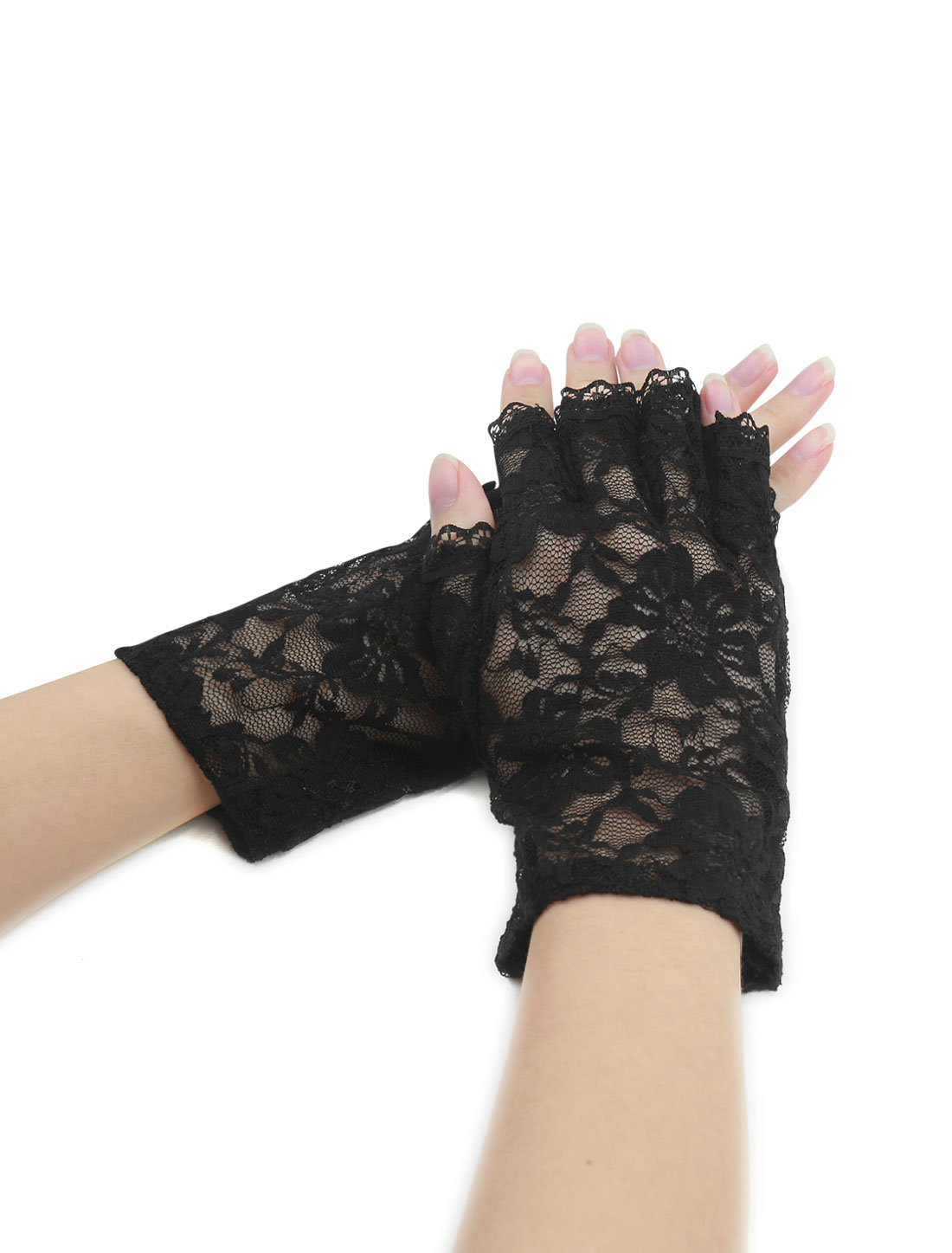 Women Wrist Length Half Finger Floral Lace Gloves Pair Black