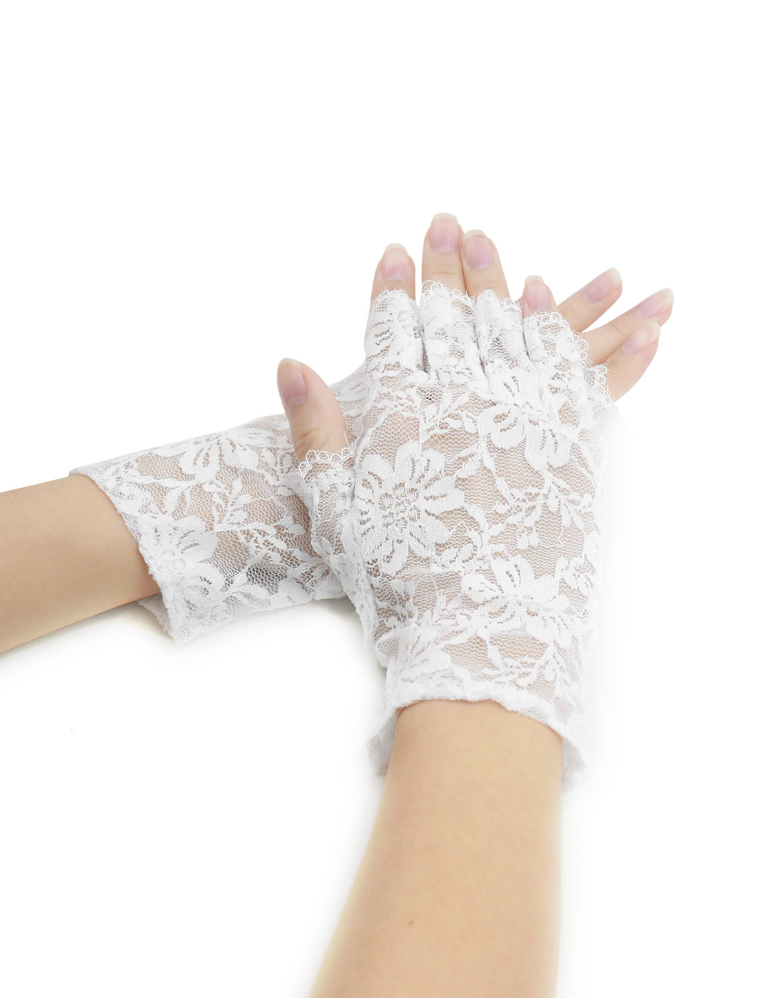 Women Wrist Length Half Finger Floral Lace Gloves Pair White