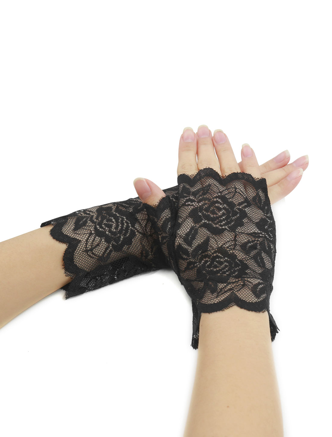 Women Scalloped Trim Floral Lace Fingerless Gloves Pair Black