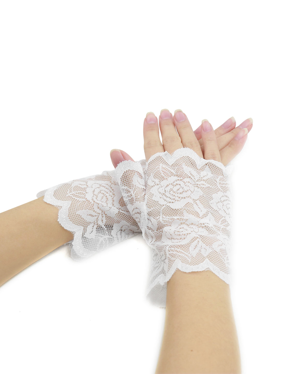 Women Scalloped Trim Floral Lace Fingerless Gloves Pair White