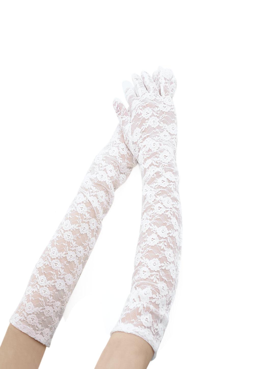 Women Opera Length Floral Lace Full Finger Gloves Pair White
