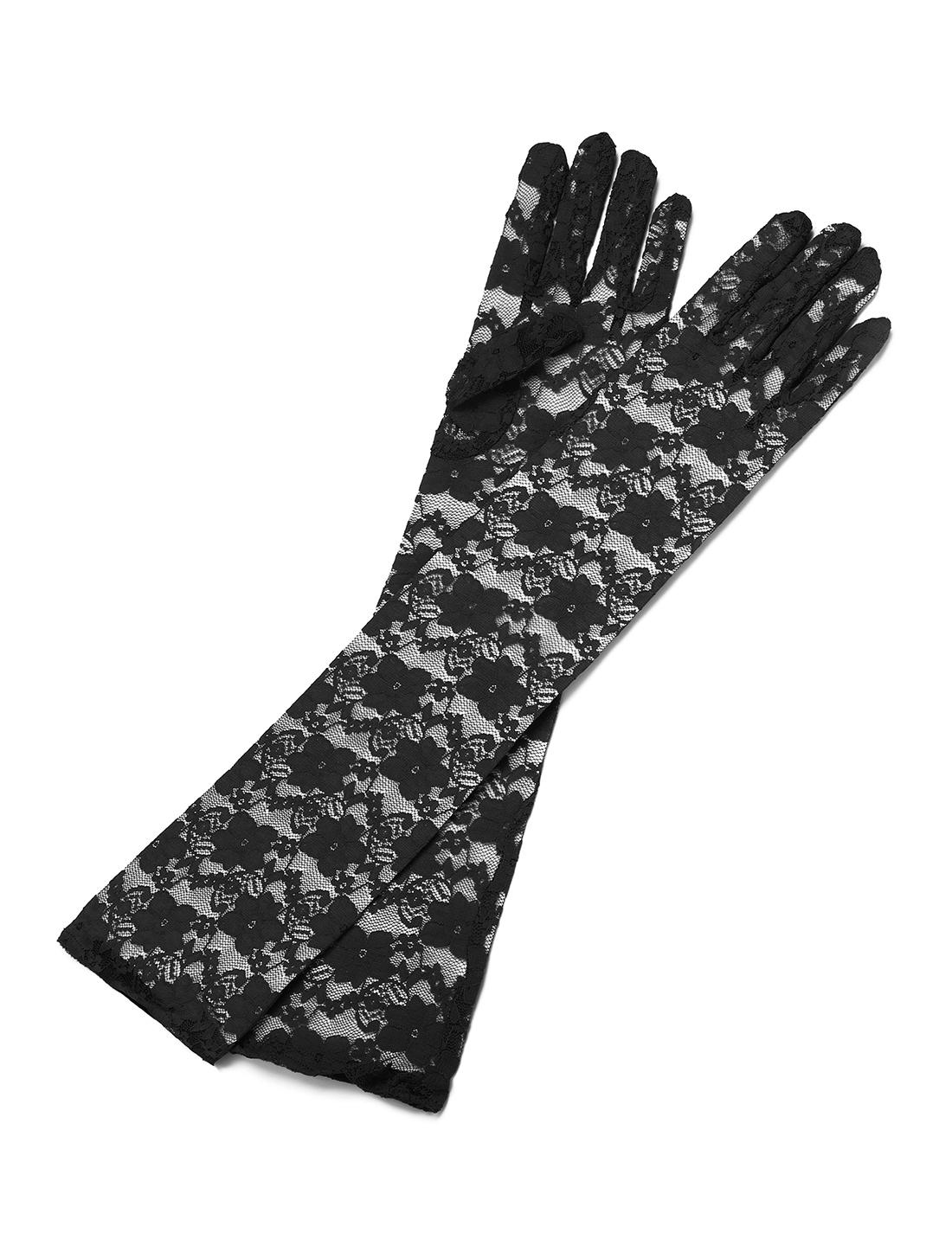 Women Opera Length Floral Lace Full Finger Gloves Pair Black