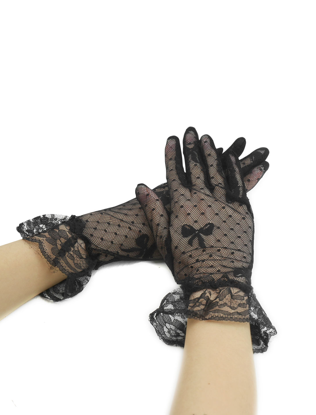 Women Elastic Cuffs Bowknot Dots Lace Full Finger Gloves Pair Black