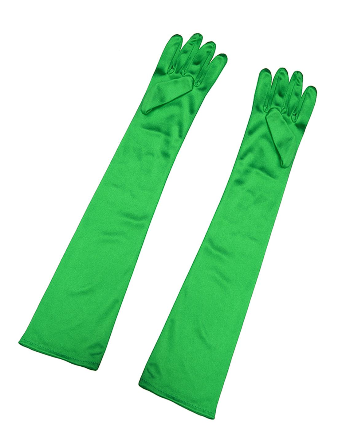 Women Stretchy Opera Length Full Finger Gloves Pair Green