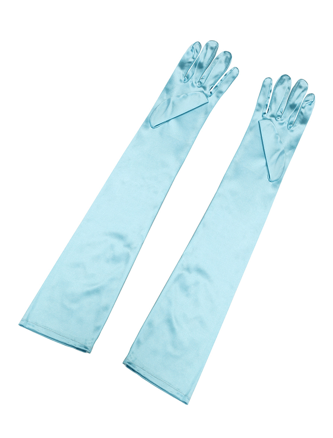 Women Stretchy Opera Length Full Finger Gloves Pair Green Light Blue