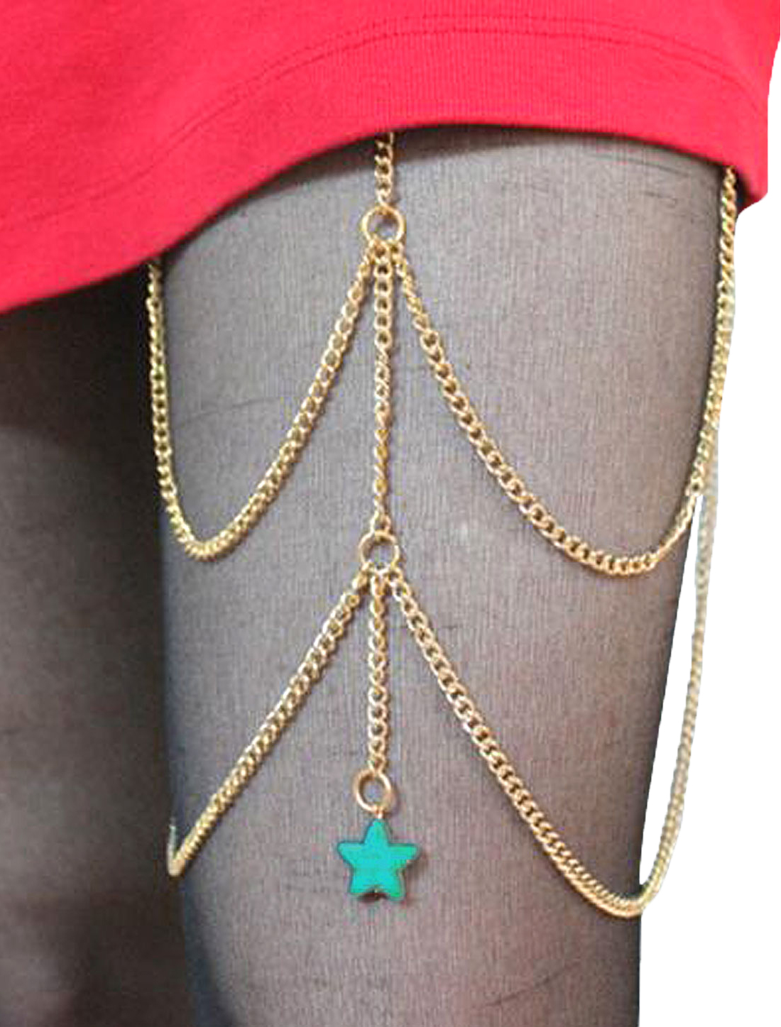 Women Star Pendent Metal Body Jewelry Thigh Leg Chain Gold
