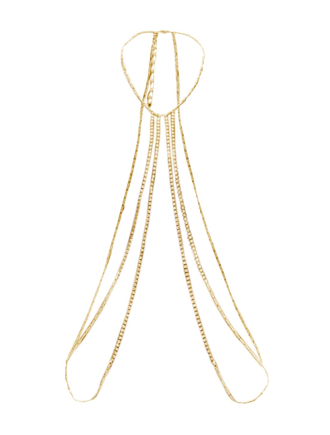 Women Rhinestone Tassels Adjustable Necklace Body Chain Gold