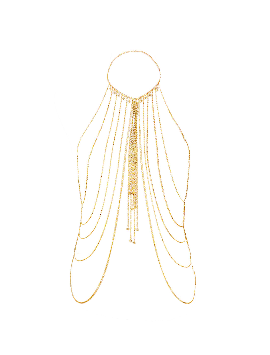 Ladies Beaded Multi Layered Tassels Belly Body Chain Necklace Gold