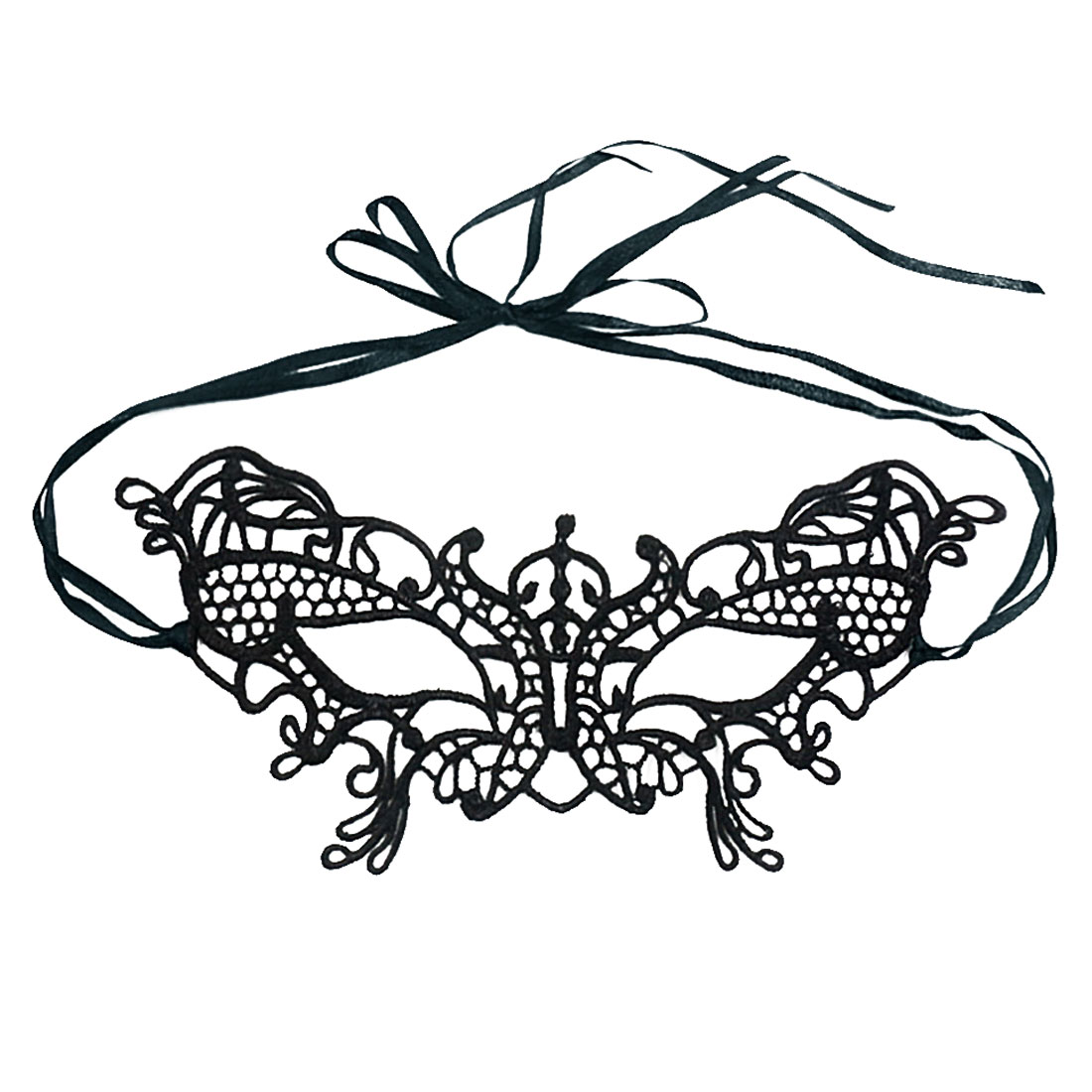 Women Hollow Out Crochet Butterfly Masquerade Mask Black