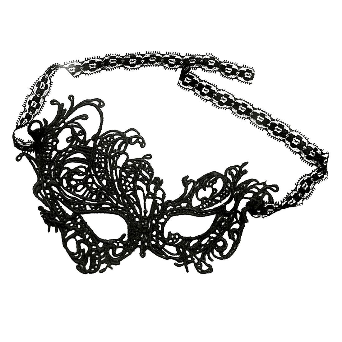 Women Crochet Self Tie Swan Party Masquerade Mask Black