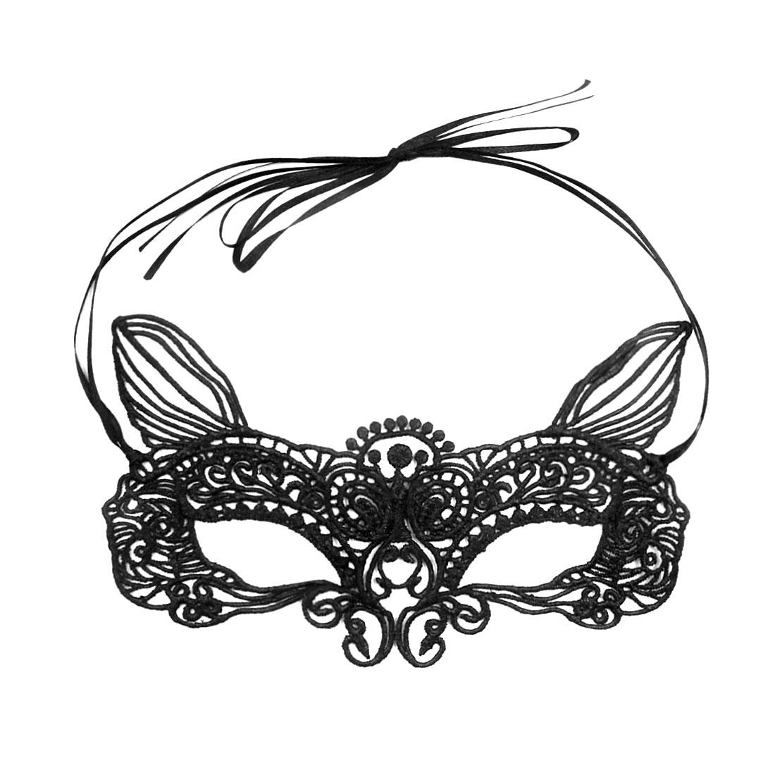 Women Masquerade Crochet Self Tie Cat Ears Party Eye Mask Black
