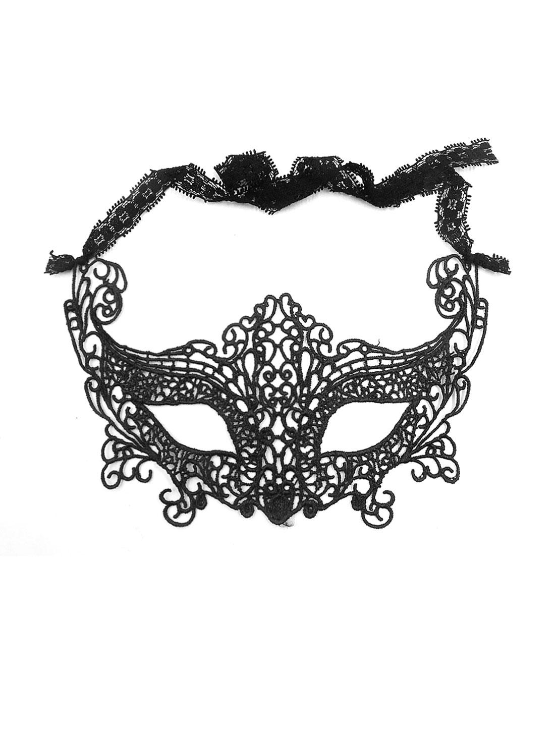 Women Crochet Self Tie Hollow Out Fox-shaped Party Eye Mask Black