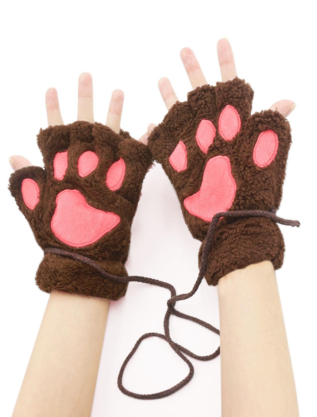Women Cat Paw Neck Hanging Design Plush Fingerless Gloves Dark Brown