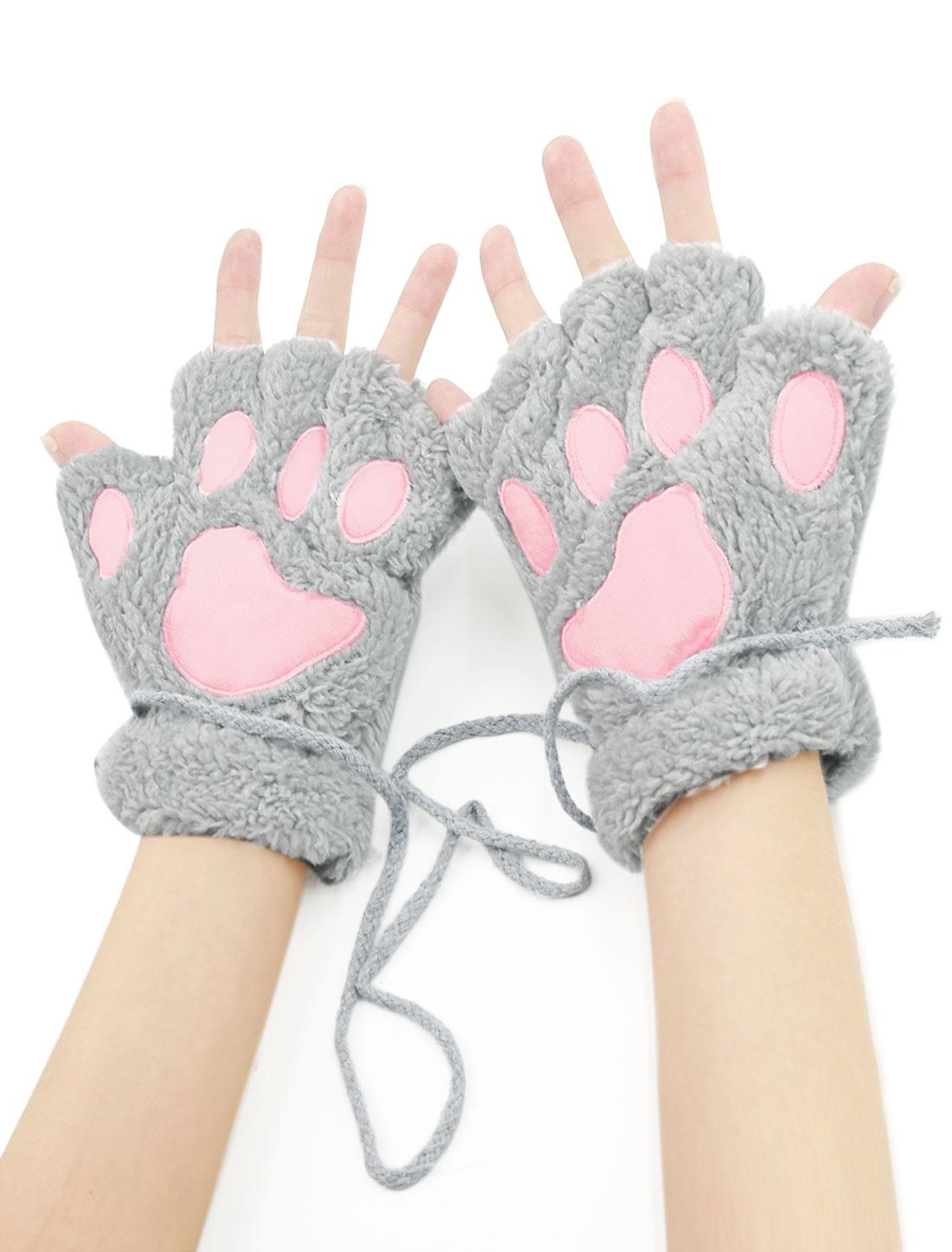 Women Cat Paw Neck Hanging Design Plush Fingerless Gloves Gray