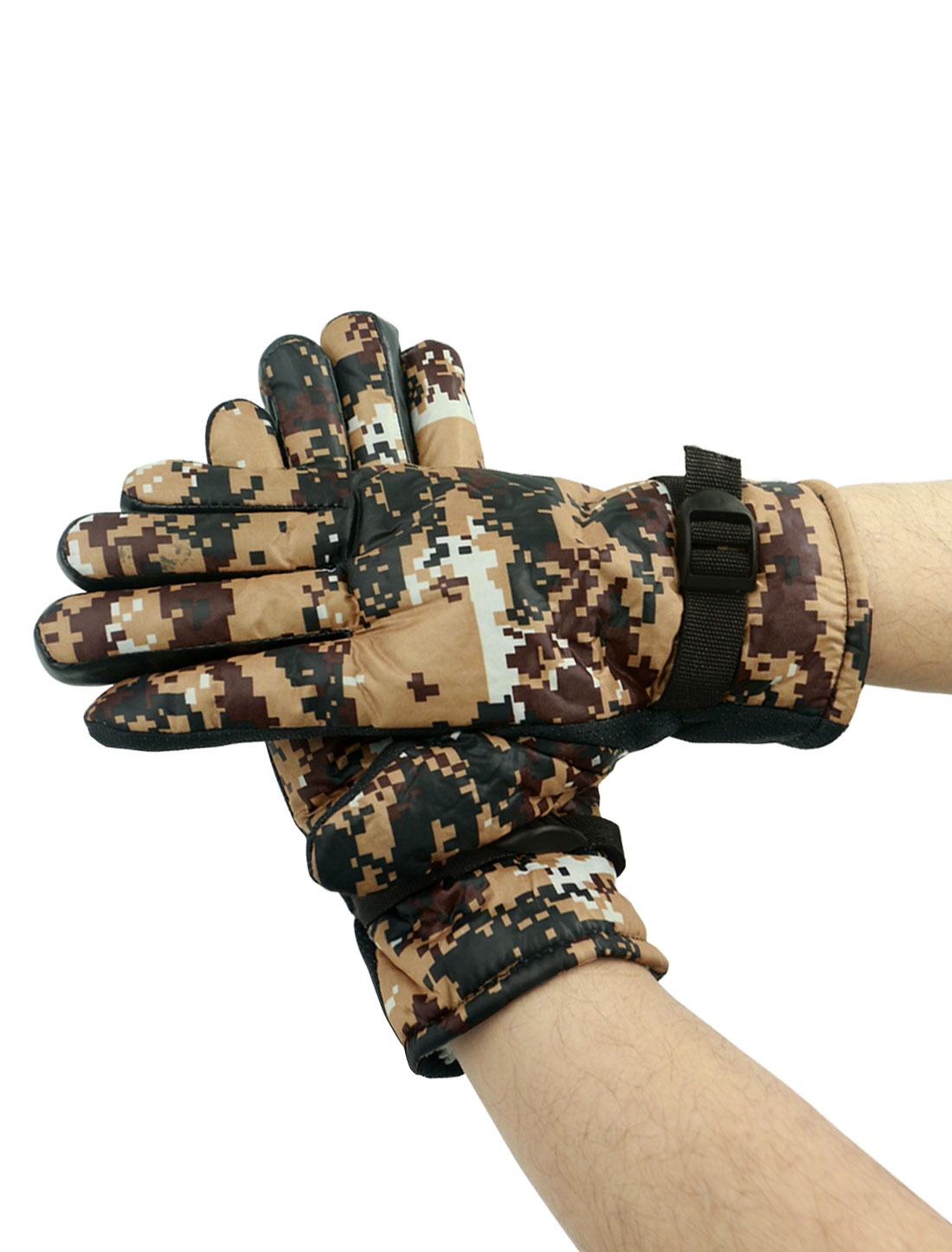 Men Adjustable Buckle Anti-slip Camouflage Gloves Pair Beige