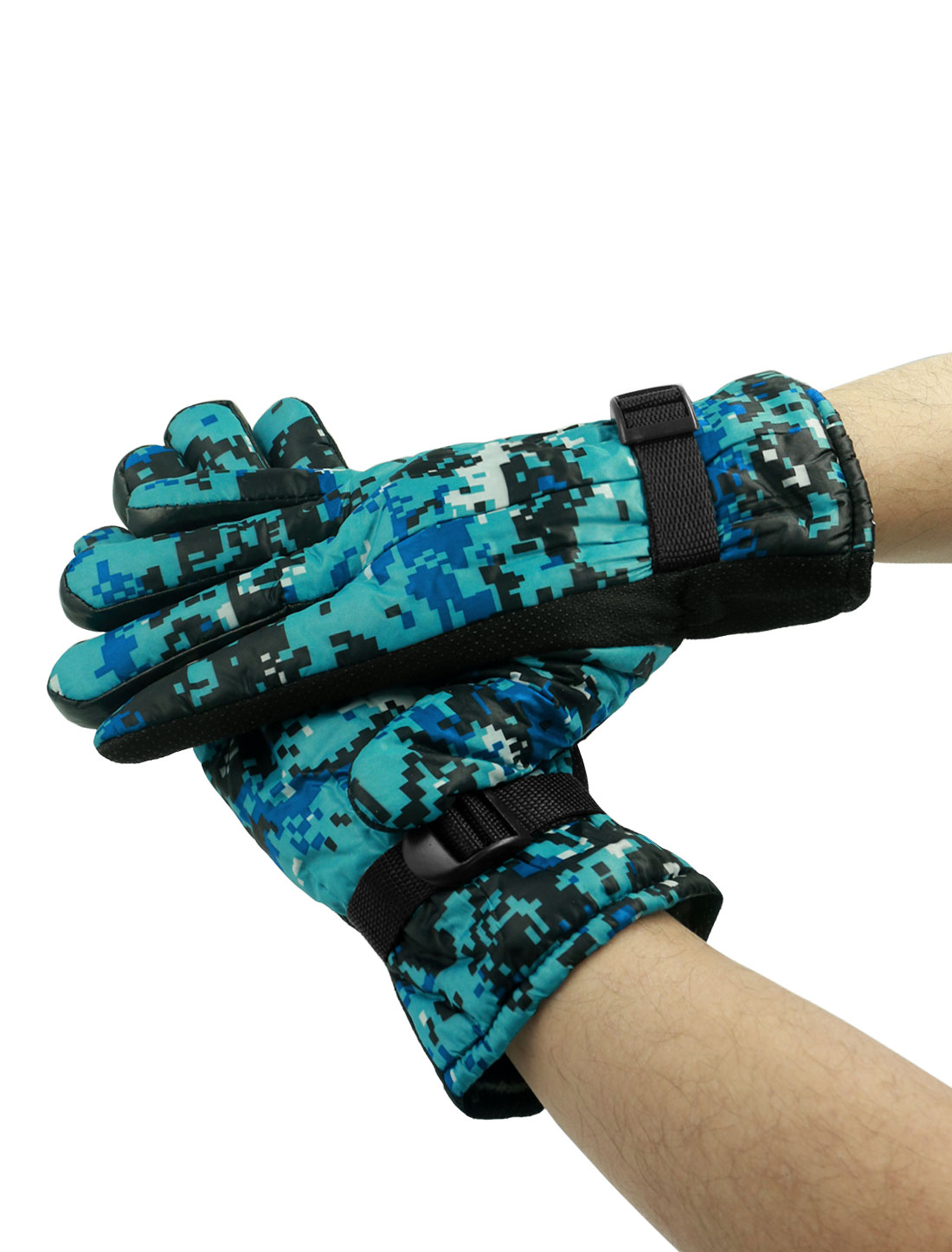 Men Adjustable Buckle Anti-slip Camouflage Gloves Pair Blue