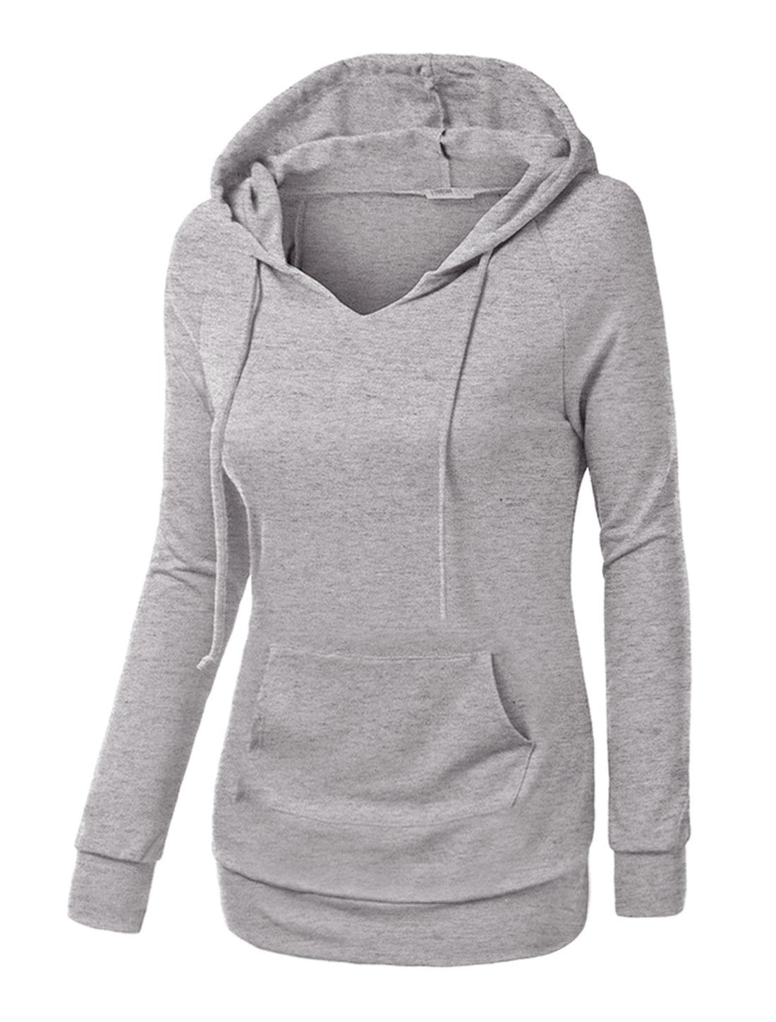 Women Raglan Sleeves Kangaroo Pocket Drawstring Tunic Hoodie Gray S