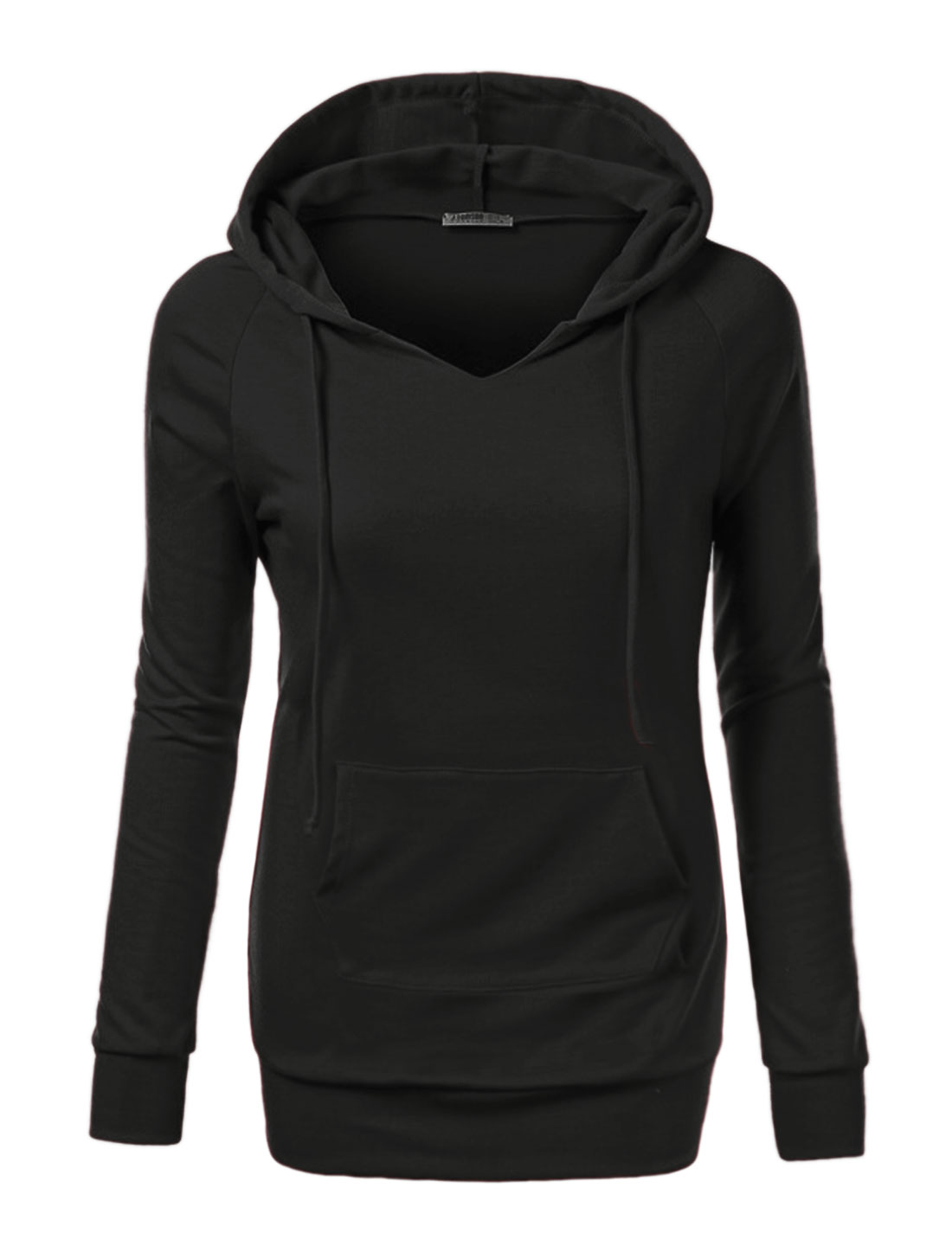 Women Raglan Sleeves Kangaroo Pocket Drawstring Tunic Hoodie Black S