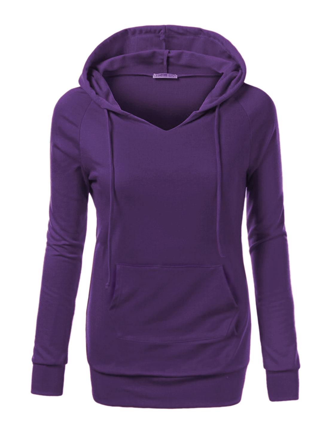 Women Raglan Sleeves Kangaroo Pocket Drawstring Tunic Hoodie Purple S