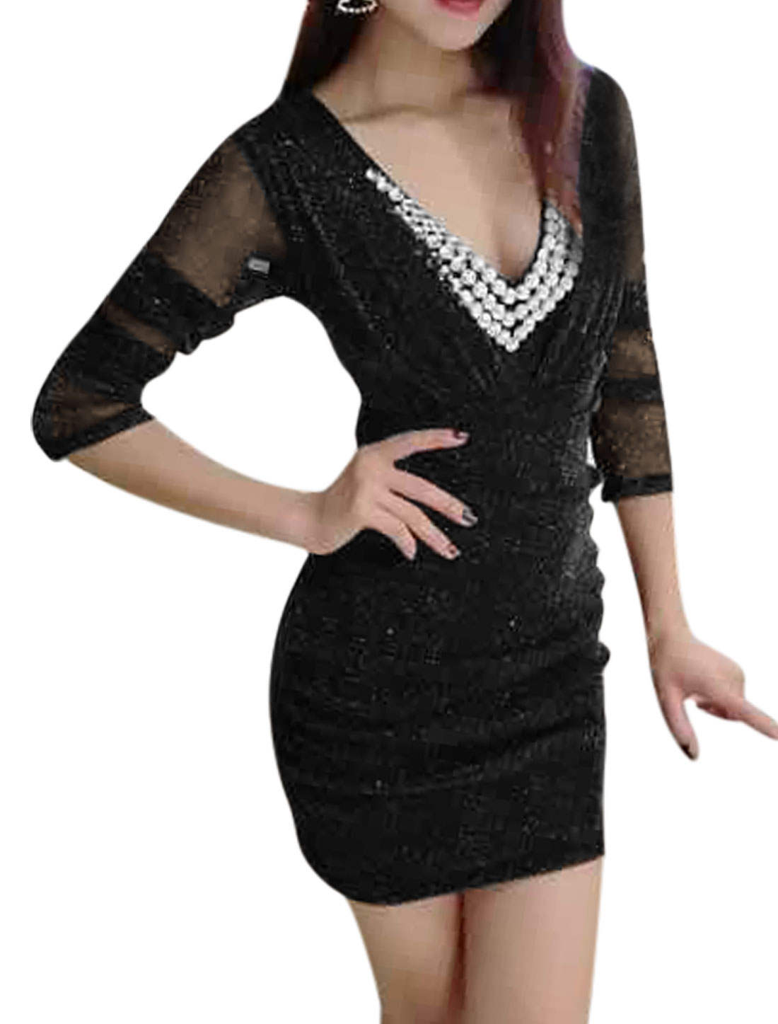 Women Deep V Neck Rhinestone Decor Ruched Glitter Mesh Mini Dress Black S