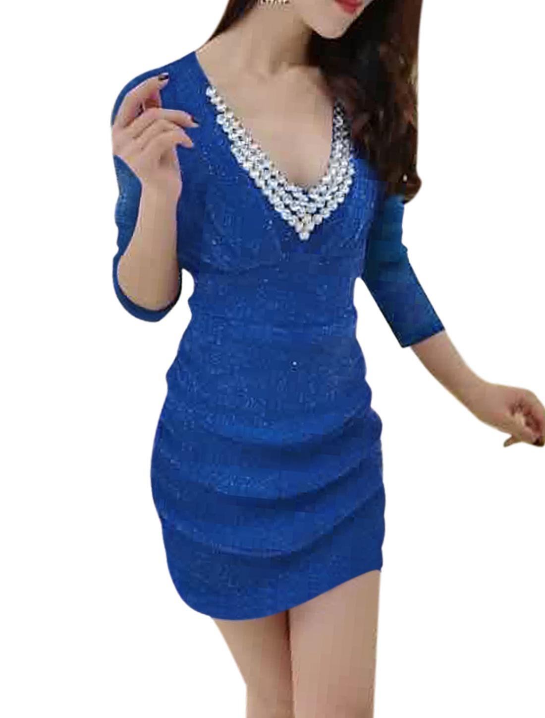 Women Deep V Neck Rhinestone Decor Ruched Glitter Mesh Mini Dress Blue S