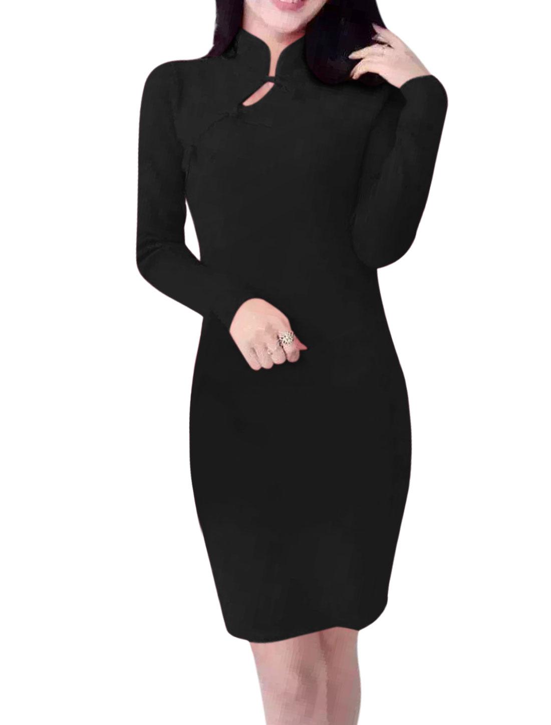 Women Long Sleeves Mandarin Collar Cheongsam Mini Bodycon Dress Black S