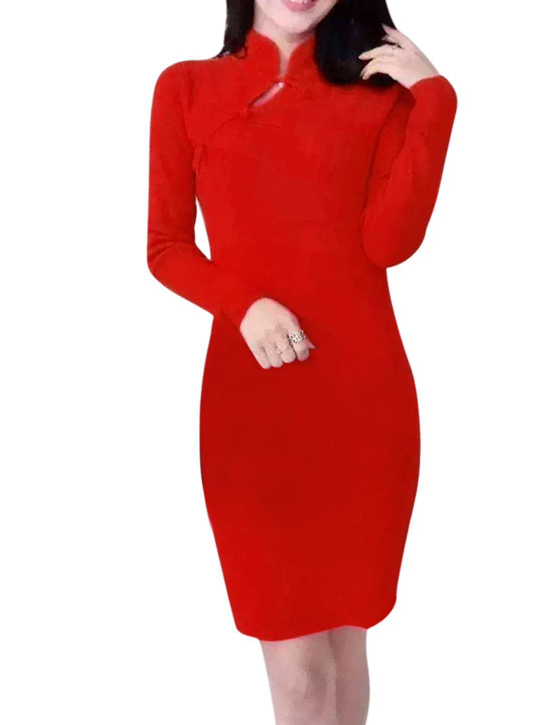 Women Long Sleeves Mandarin Collar Cheongsam Mini Bodycon Dress Red S