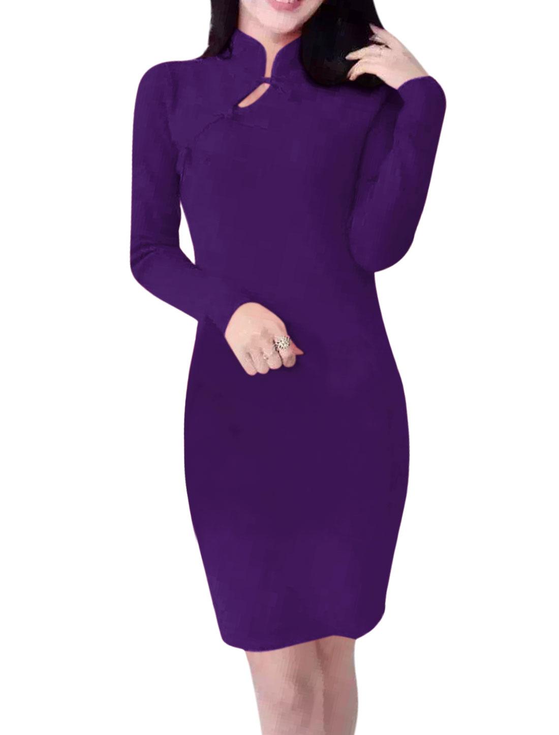 Women Long Sleeves Mandarin Collar Cheongsam Mini Bodycon Dress Purple S