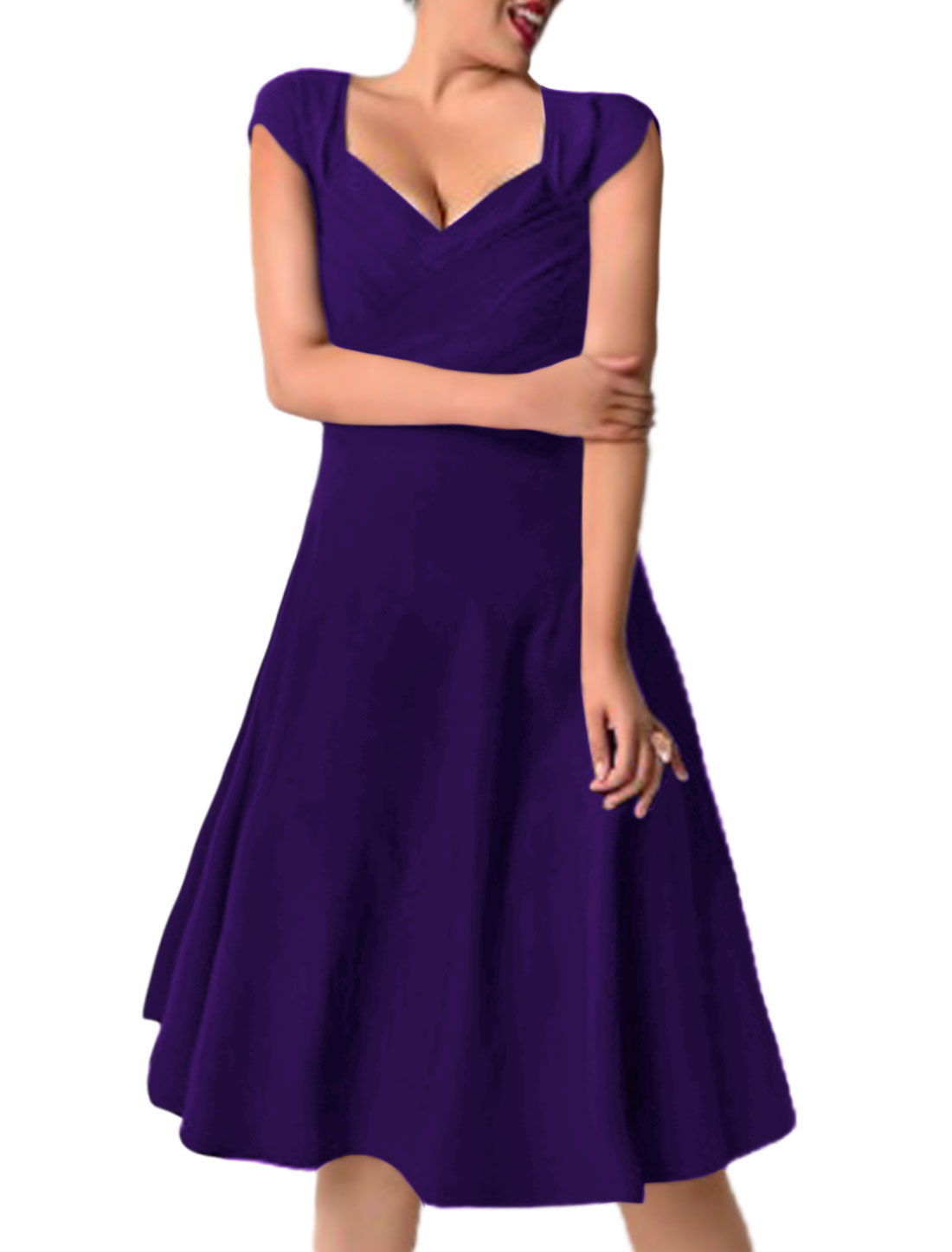Women Ruched Asymmetric Neck Below Knee Fit and Flare Dress Purple M