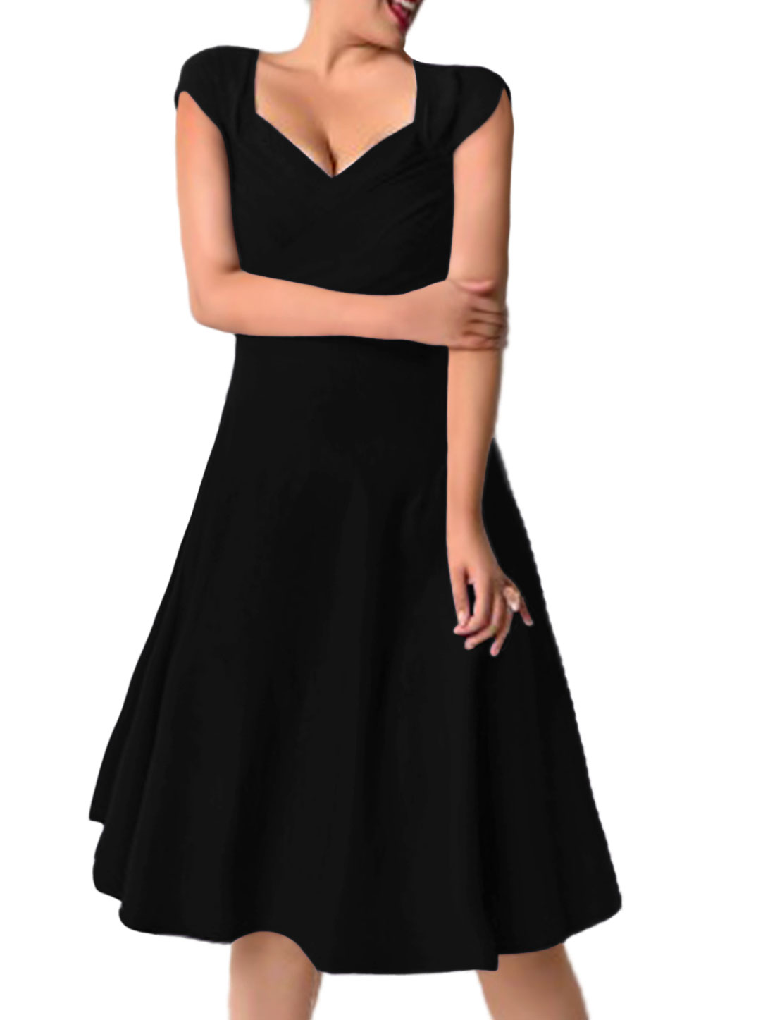Women Ruched Asymmetric Neck Below Knee Fit and Flare Dress Black L