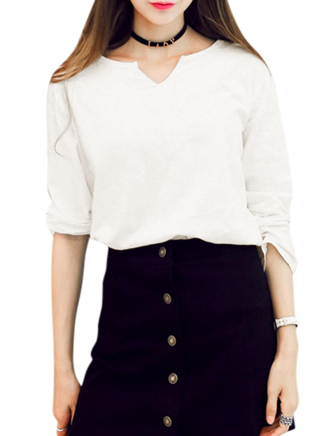 Women Split Neck Bracelet Sleeves Casual T-Shirt White S