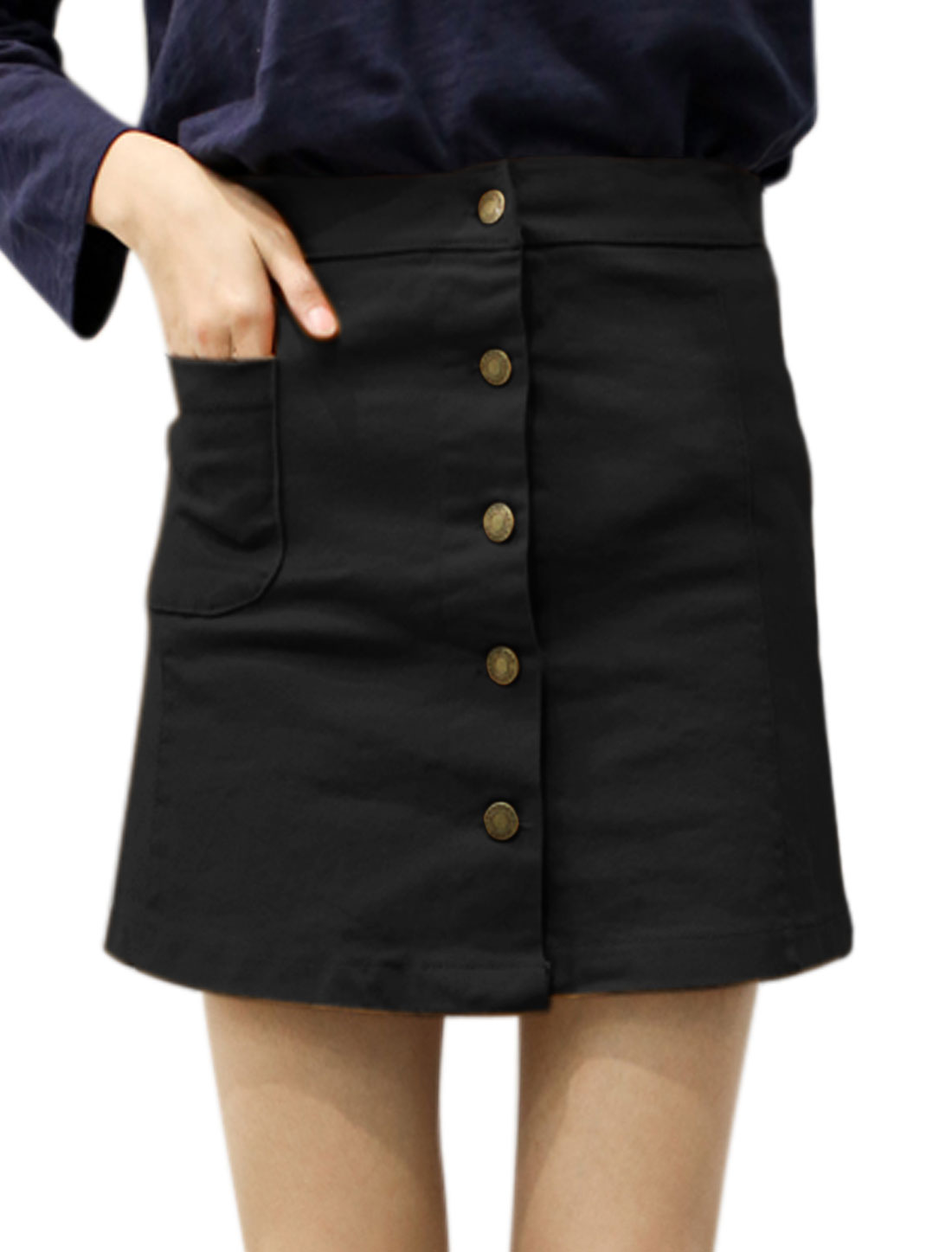 Women Button Closed Front Pocket Mini A Line Skirt Black S