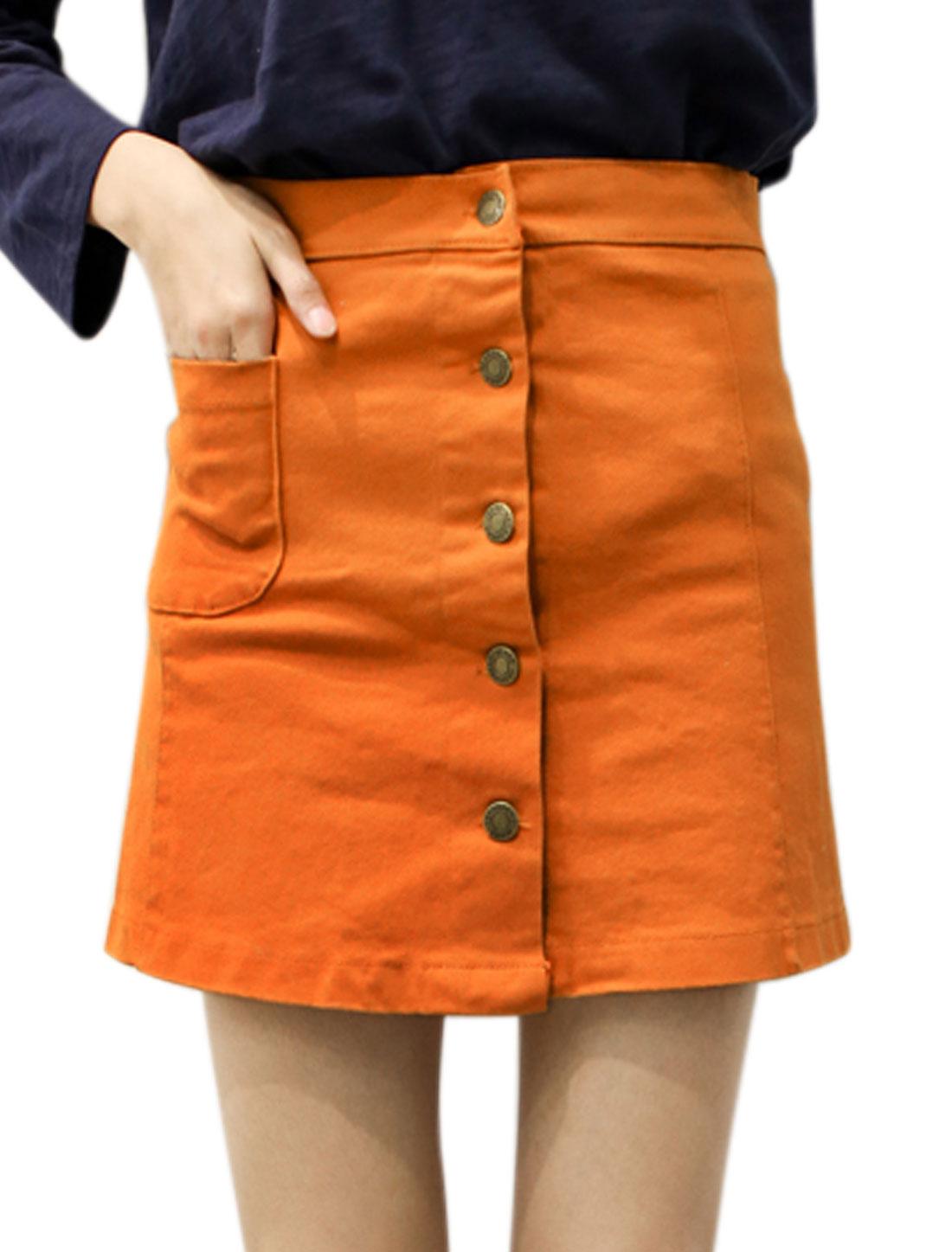 Women Button Closed Front Pocket Mini A Line Skirt Orange S