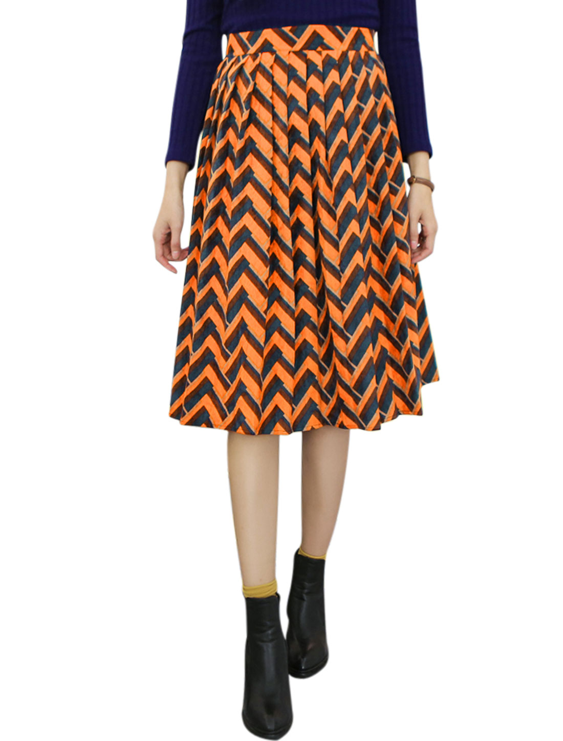 Women Zig-Zag Pattern Below Knee Corduroy Pleated Skirt Yellow M