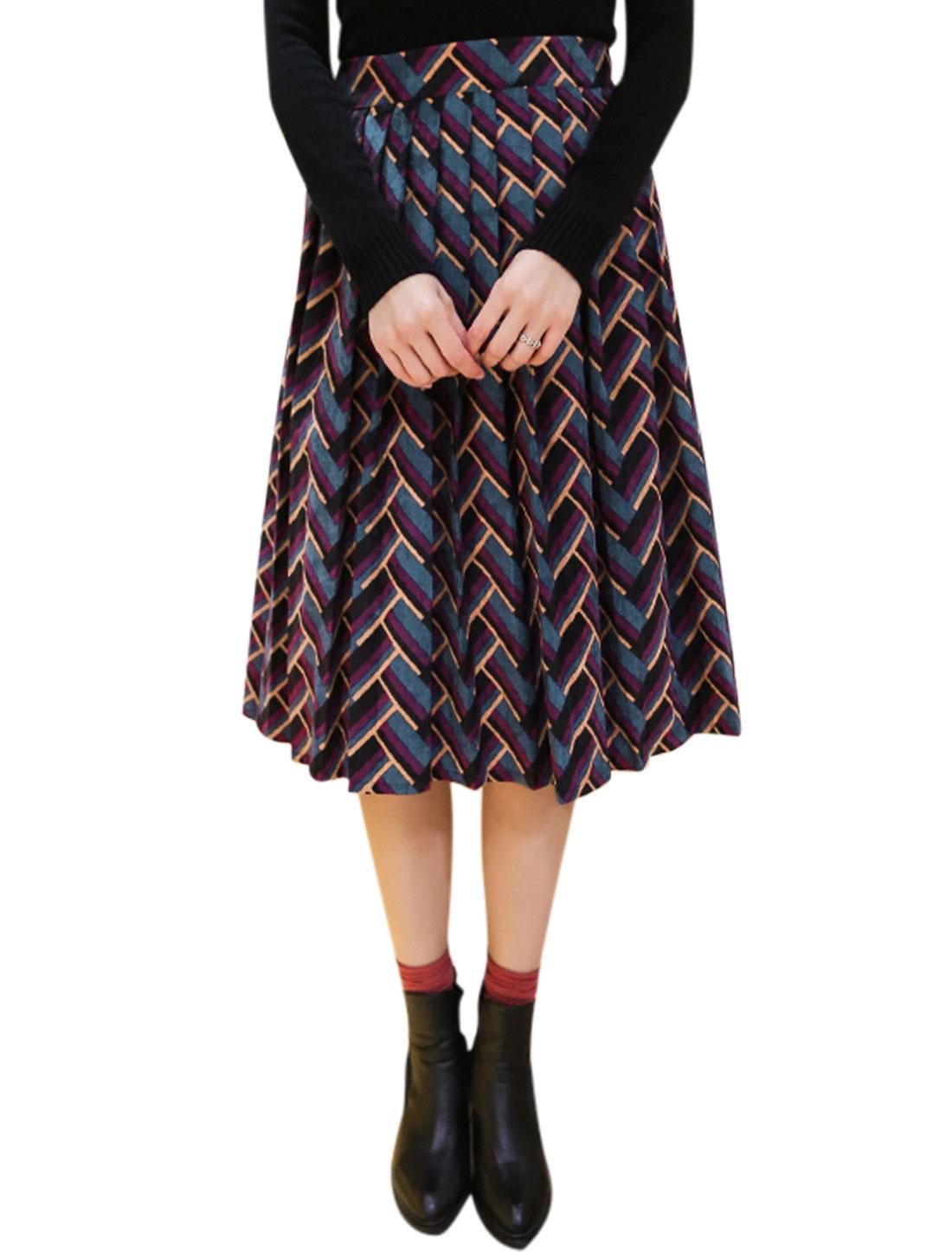 Women Zig-Zag Pattern Below Knee Corduroy Pleated Skirt Purple M