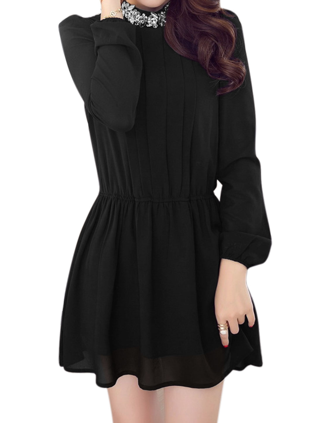 Women Stand Collar Rhinestones Decor Elastic Waist Mini Dress Black M