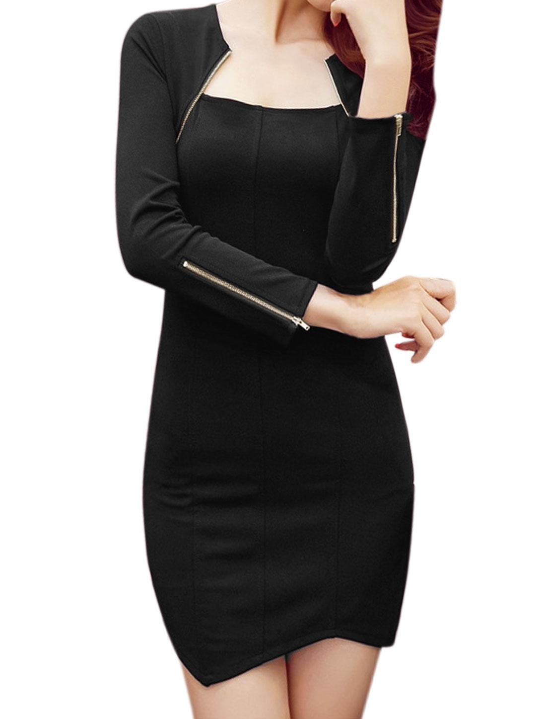 Women Zippered Sleeves Asymmetric Hem Mini Bodycon Dress Black M